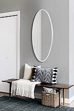 Зеркало ростовое овальное белое 1300х600