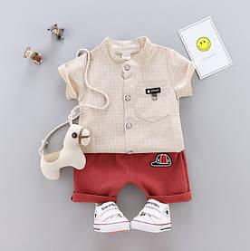 Летний костюм мальчику мелкая клетка беж 3226