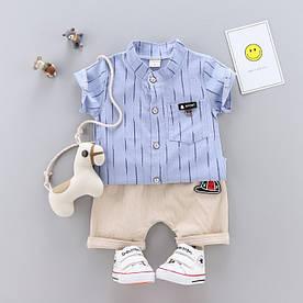Летний костюм мальчику полосы синий 3227
