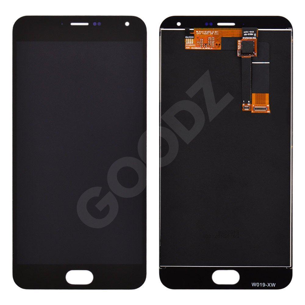 Дисплей Meizu M2 Note з тачскріном в зборі, колір чорний, чорний шлейф, копія високої якості, знижені в ціні