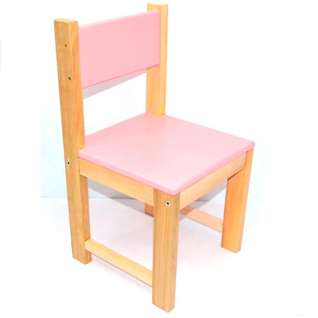Стільчик дитячий дерев'яний ИГРУША 50 см Рожевий