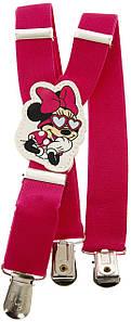 Підтяжки дитячі для дівчинки рожеві KWM Minnie Mouse 60 на 2,5 см
