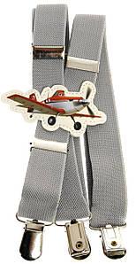 Підтяжки дитячі сірі KWM Літаки 60 на 2,5 см
