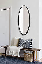 Овальне ростовое дзеркало, чорне 1300х600 мм