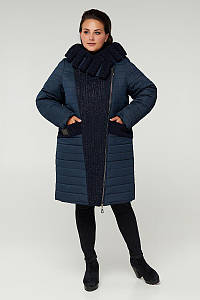 Зимнее двубортное пальто CR-606K-BLU