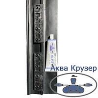 Комплект ліктрос-лікпаз для кріплення рухомого сидіння на човни ПВХ, колір рейки чорний + клей