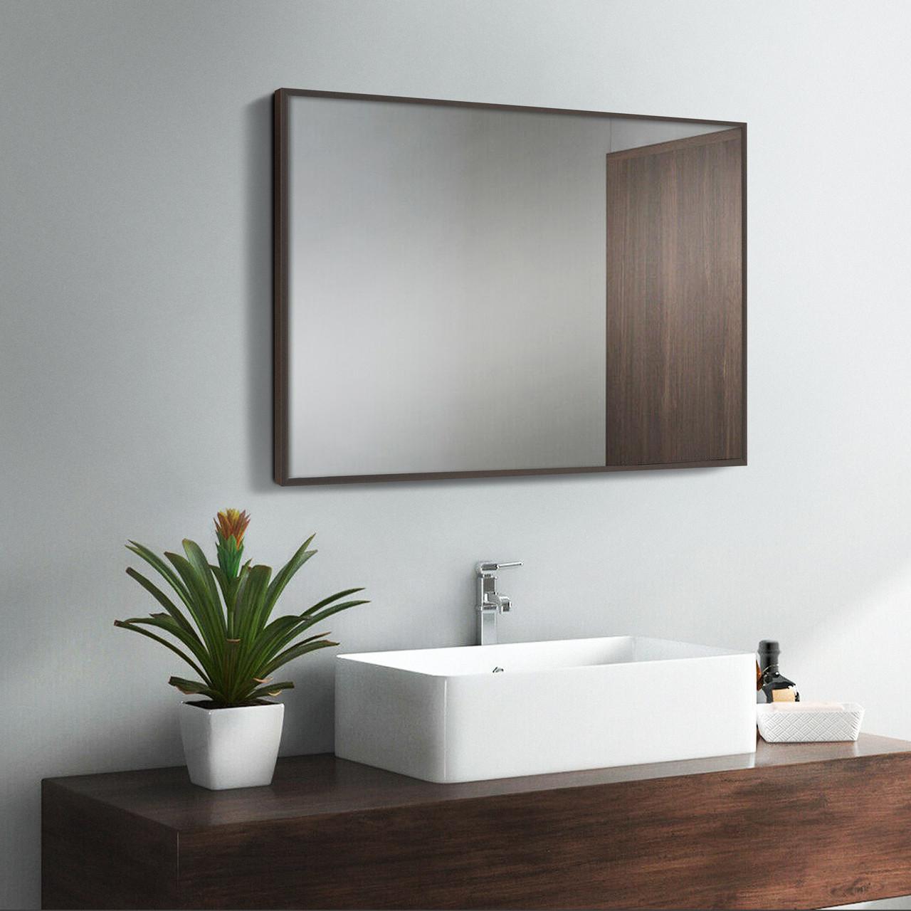 Дзеркало у ванну в алюмінієвій рамі, коричневий колір