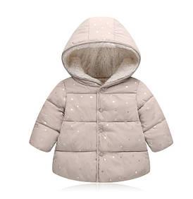 Куртка деми для девочек со звездочками бежевая 2652 1374585478