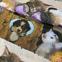 Преміум бязь з котиками та собачками, ш. 150 см, фото 1