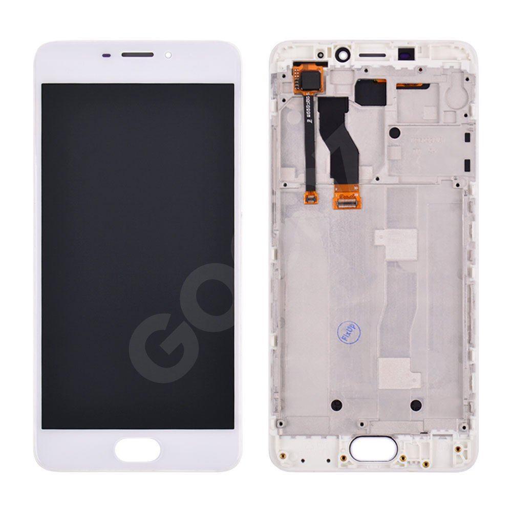 Дисплей для Meizu M5 Note з тачскріном і рамкою в зборі, колір білий, копія високої якості