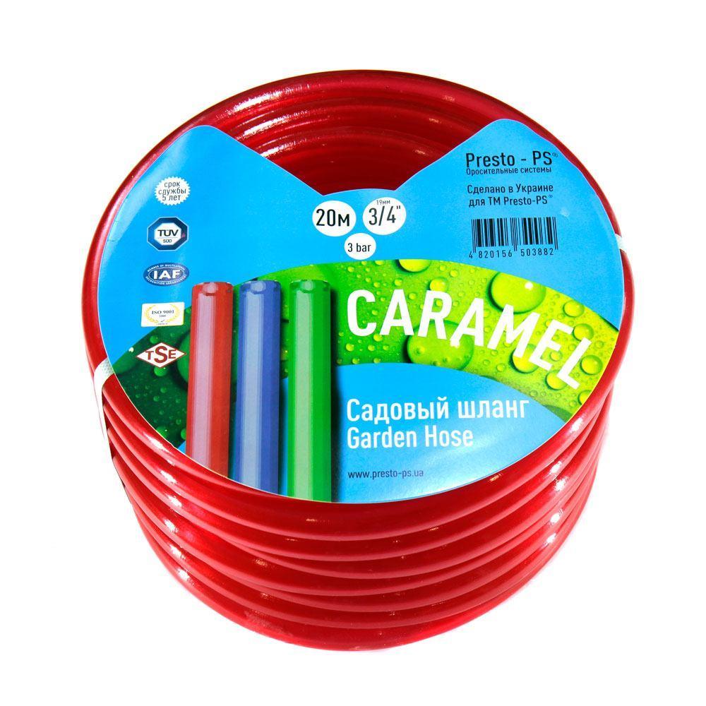 Шланг поливальний Presto-PS силікон садовий Caramel (червоний) діаметр 3/4 дюйма, довжина 20 м (SE-3/4 20)