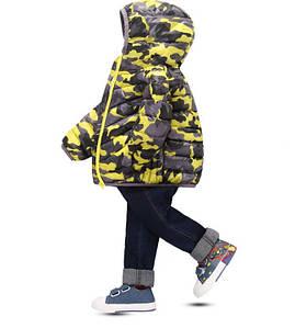 Демисезонная курточка мальчику Камуфляж желтая 3544
