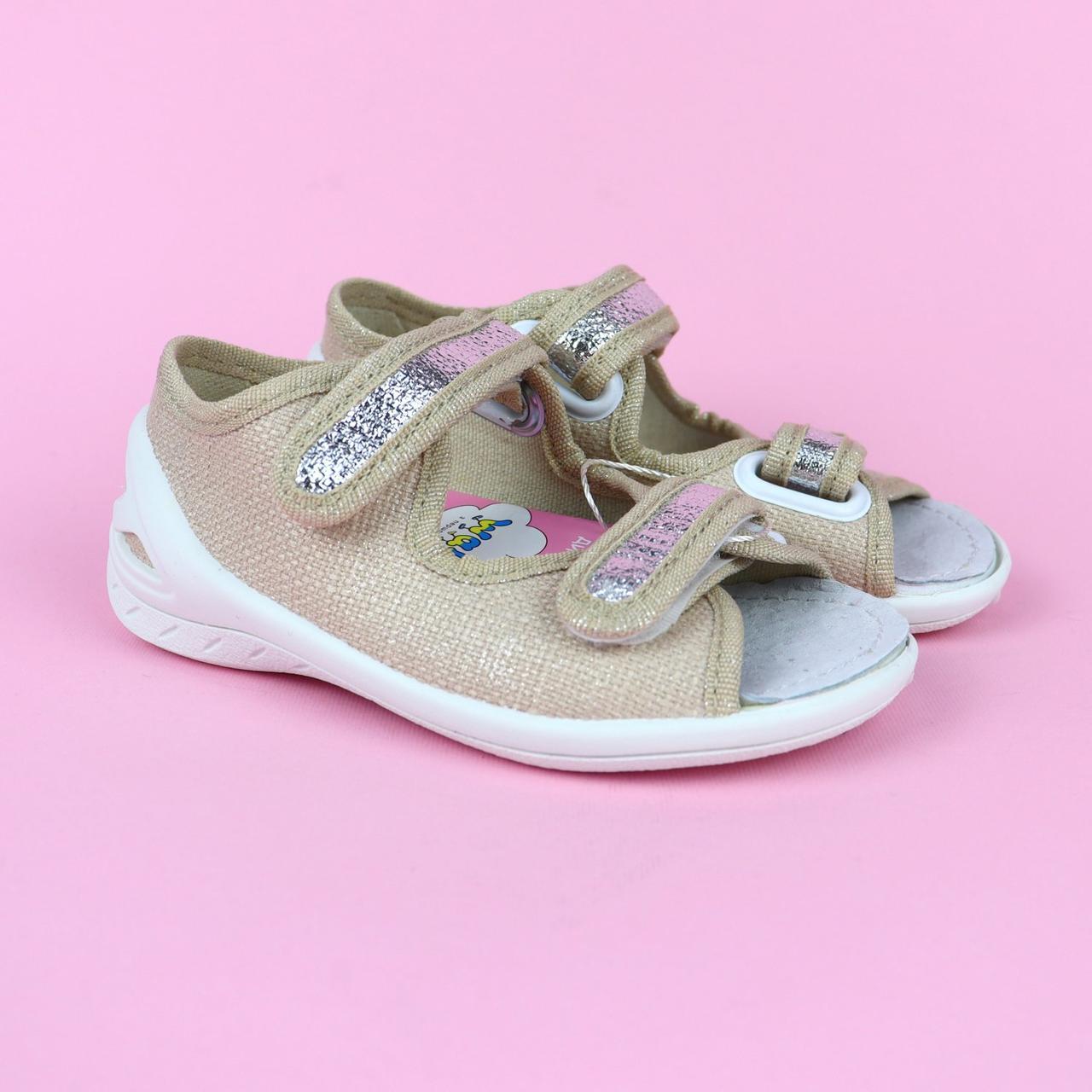 Текстильні тапочки для дівчинки відкритий носок тм Waldi розмір 23,26