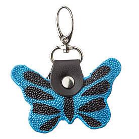Брелок сувенир бабочка STINGRAY LEATHER 18537 из натуральной кожи морского ската Cиний