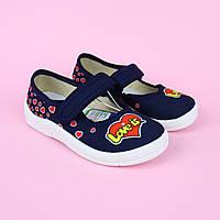 Текстильні туфлі Love is для дівчинки сині тм Waldi розмір 24,25,26,27,29,30, фото 1
