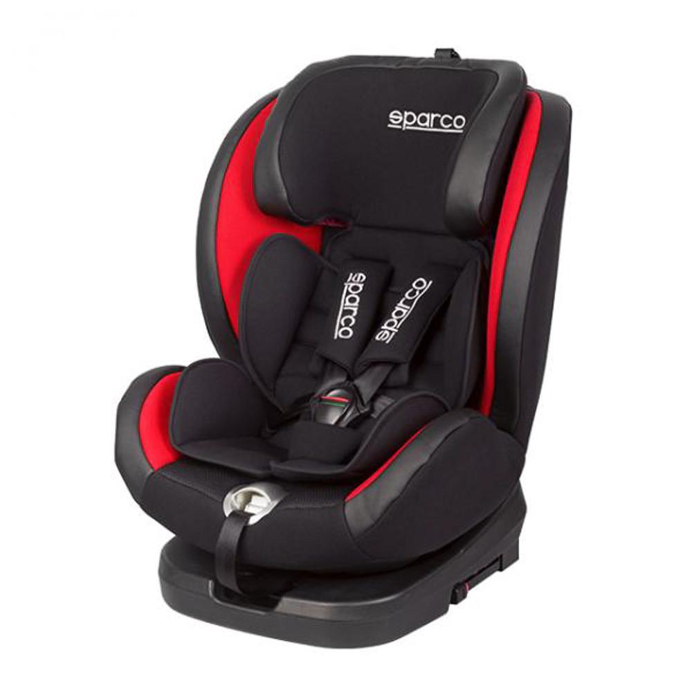 Автокрісло з поворотним механізмом Sparco G0+1+2+3 Polyester чорно-червоне SP SK600I- RD