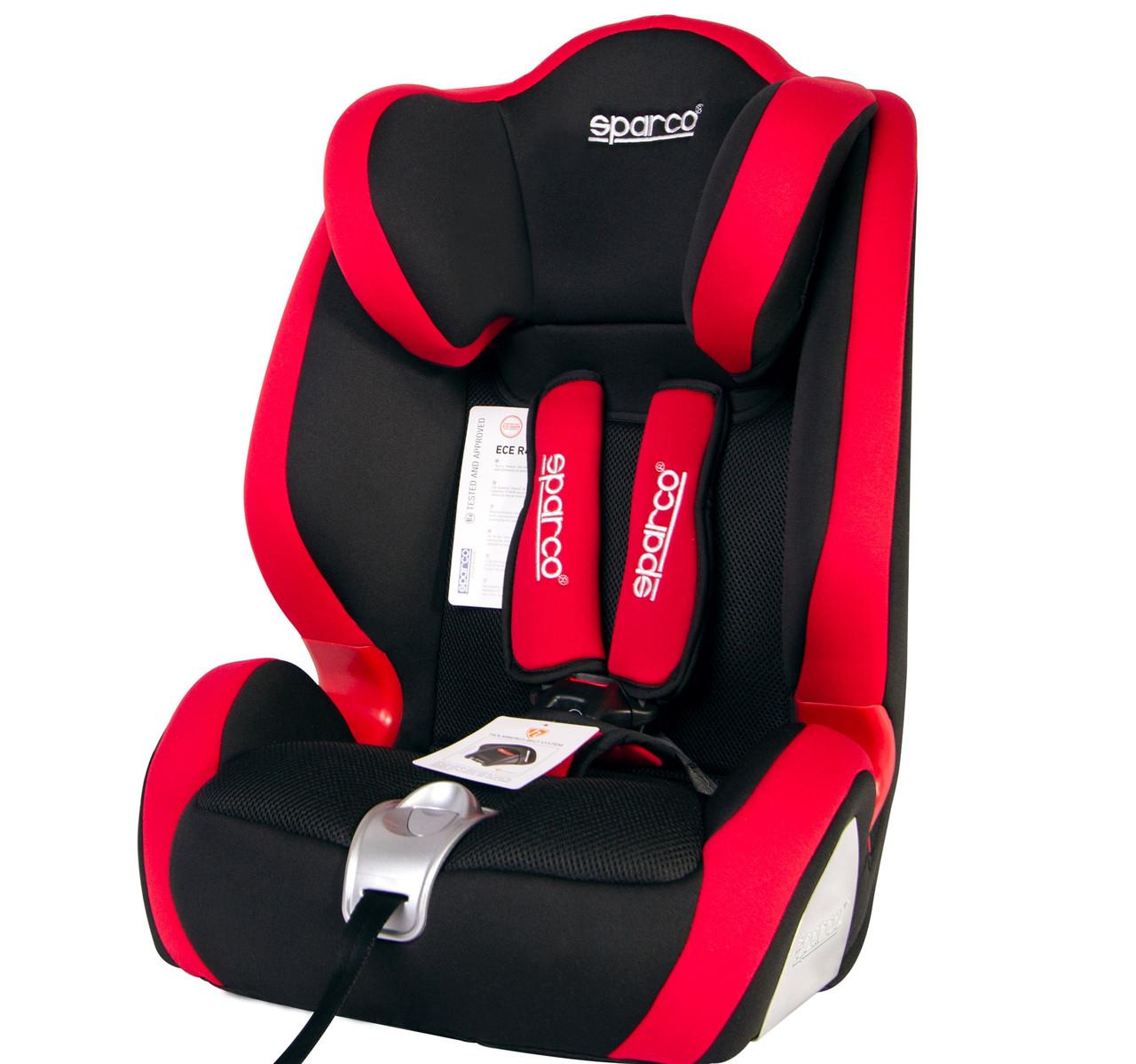 Автокрісло Sparco 1+2+3 (9-36кг) чорно-червоне SP F1000K- RD