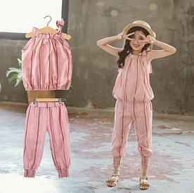 Летний костюм для девочки розовый 3988