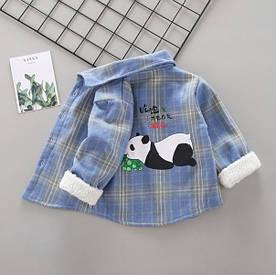 Утеплена сорочка Панда синя 1002 105
