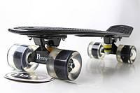 Пенни борд Penny Board 22. Black. Светящиеся Черные колеса. Скейты
