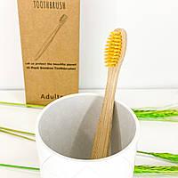 Бамбуковая зубная щетка из натурального ворса - желтая