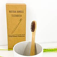 Бамбуковая зубная щетка из натурального ворса - коричневая