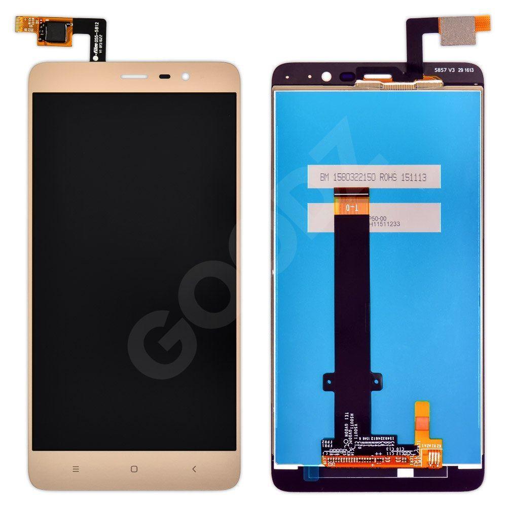 Дисплей для Xiaomi Redmi Note 3, Note 3 Pro з тачскріном в зборі, 147мм, колір золотий, копія високої якості