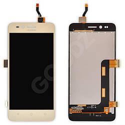 Дисплей Huawei Y3 II (LUA-U03, U22, U23, L03, L13, L23) з тачскріном в зборі, колір золотий, 3G