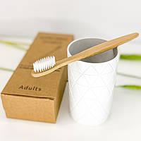 Бамбуковая зубная щетка из натурального ворса - белая