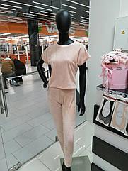 Піжама жіноча трійка футболка+шорти+штани у кольорі персик. S. M. L. XL