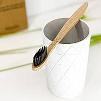 Бамбуковая зубная щетка из натурального ворса - черная