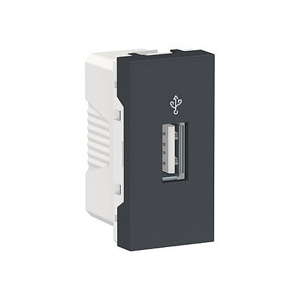 USB-коннектор 1 модуль антрацит, фото 2
