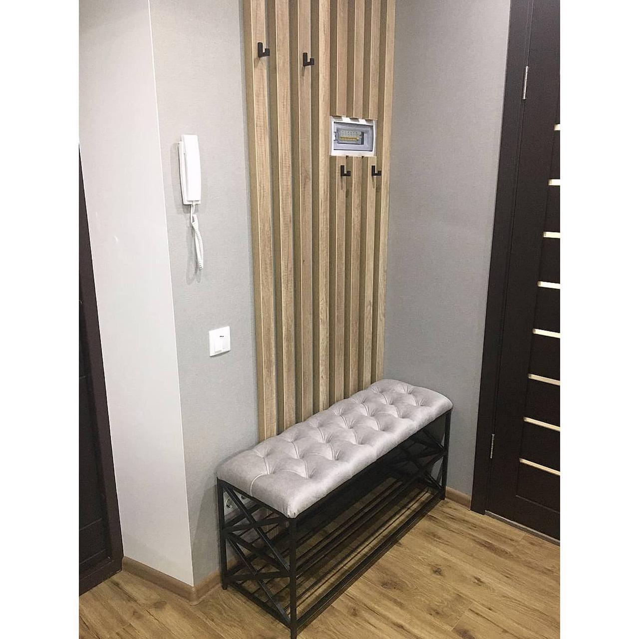 Банкеткa - Пуф в стиле Loft, каретная стяжка ( 2 полочки) 100 см