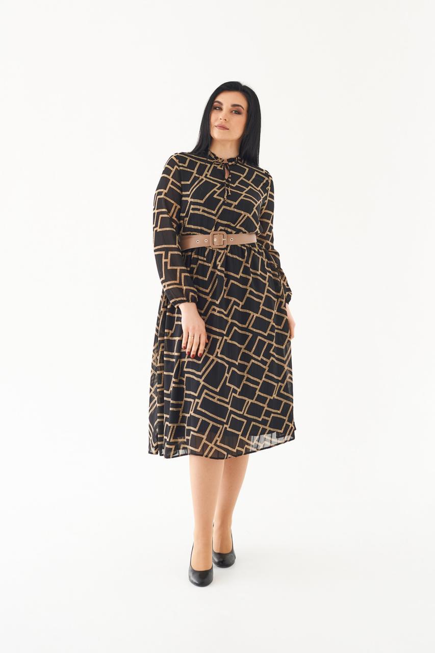 Модное шифоновое платье с ремнем 48,50,52,54 размер Весна 2021