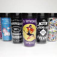 Креативные стаканы с крышками для горячих и холодных напитков