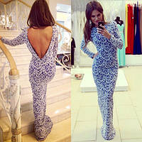 Платье бело-синее с открытой спиной из дорого гипюра на подкладке