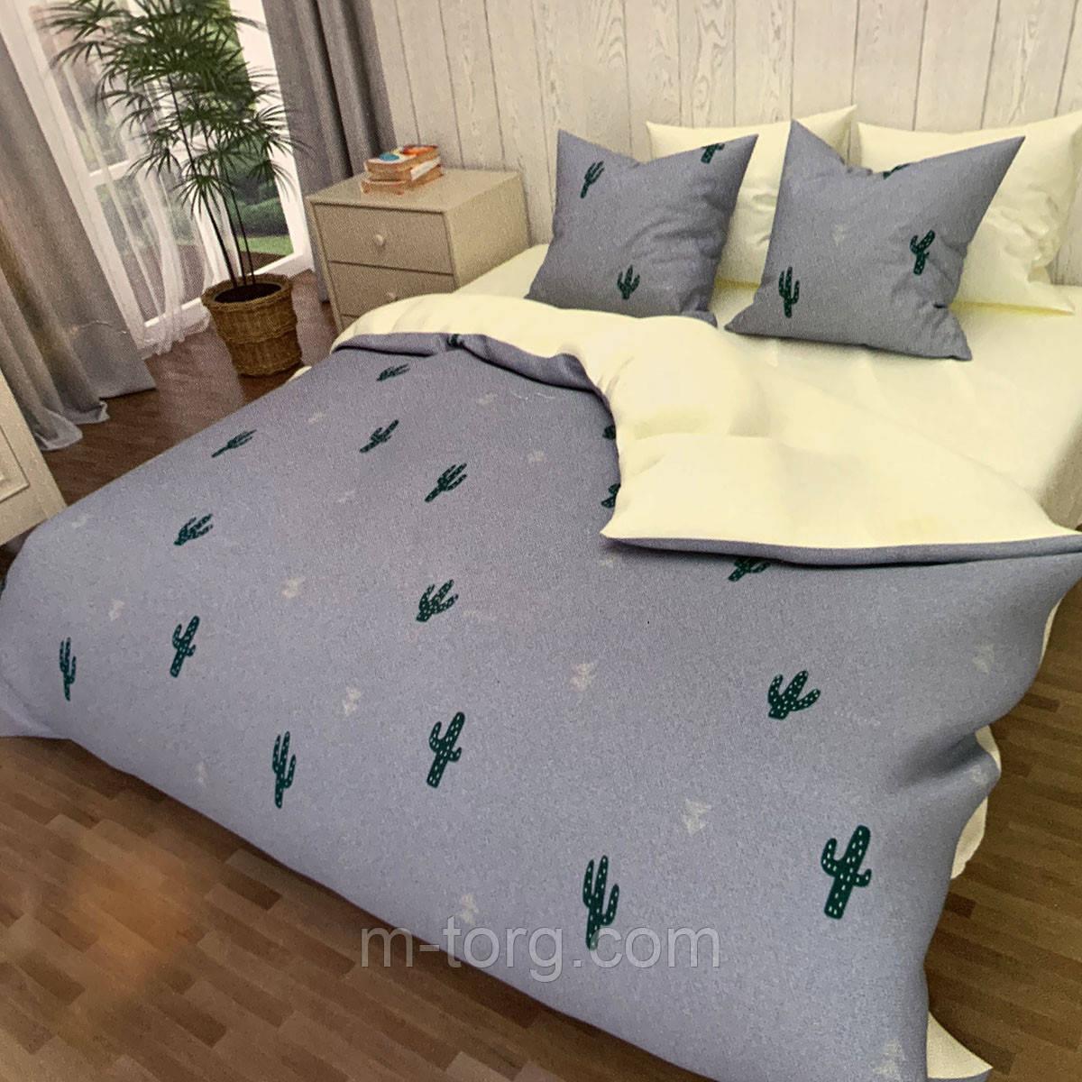 """""""кактус"""" комплект постельного белья полуторный 150/210 см, нав-ки 70/70, ткань сатин, 100% состоит из хлопка"""