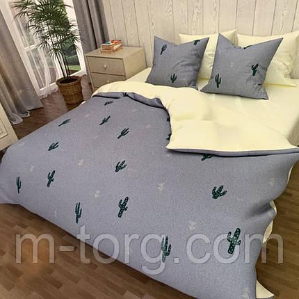 """""""кактус"""" комплект постельного белья полуторный 150/210 см, нав-ки 70/70, ткань сатин, 100% состоит из хлопка, фото 2"""
