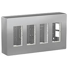 Блок unica system + відкрита вставка 4х2 алюміній