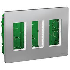Блок unica system + прихована вставка 3х2 алюміній, SE