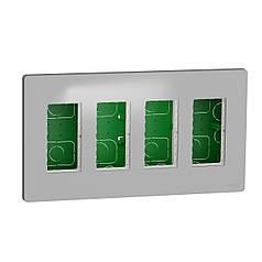 Блок unica system + прихована вставка 4х2 алюміній, SE