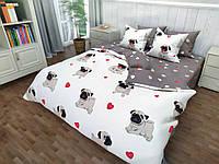 """3D Комплект постельного белья Евро размер """"Ranforce"""" мопсы"""