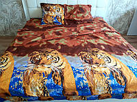 3D Комплект постельного белья Евро размера Ranforce с тиграми