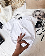 Летняя футболка женская с хлопка черная бежевая пудровая белая 42-46 баланс