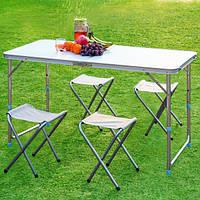 Стол для пикника раскладной с 4 стульями Folding Table 120х70х60 см White туристический стол