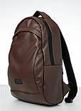 Мужской коричневый рюкзак классический, офисный, деловой, для ноутбука матовая экокожа, фото 2