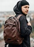 Мужской коричневый рюкзак классический, офисный, деловой, для ноутбука матовая экокожа, фото 5