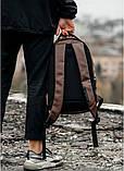 Мужской коричневый рюкзак классический, офисный, деловой, для ноутбука матовая экокожа, фото 8