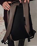 Мужской коричневый рюкзак классический, офисный, деловой, для ноутбука матовая экокожа, фото 9