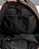 Мужской коричневый рюкзак классический, офисный, деловой, для ноутбука матовая экокожа, фото 10